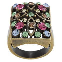 City by City City Style Antique Gold Rectangle Multi-pastel Crystal Pave Band