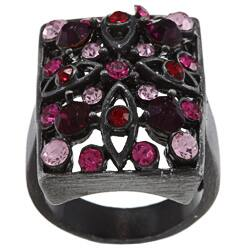 City by City City Style Antique Silvertone Pink Crystal Pave Rectangle Ring|https://ak1.ostkcdn.com/images/products/6724425/City-Style-Antique-Silvertone-Pink-Crystal-Pave-Rectangle-Ring-P14272445.jpg?impolicy=medium
