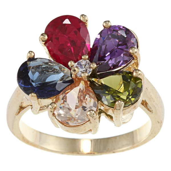 City Style Gold Miltiple Cubic Zirconia Ring