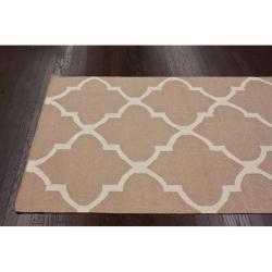 nuLOOM Handmade Flatweave Moroccan Trellis Beige Wool Rug (7'6 x 9'6) - Thumbnail 1