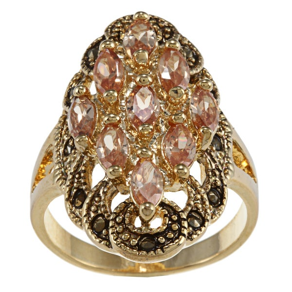 City by City City Style Gold and Marcasite Champagne CZ Cluster Ring