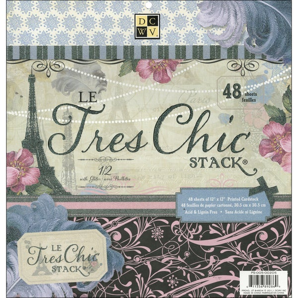 """Le Tres Chic Paper Stack 12""""X12""""-48 Sheets"""