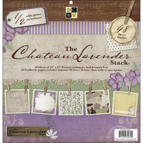 """Chateau Lavender Paper Stack 12""""X12""""-48 Sheets"""