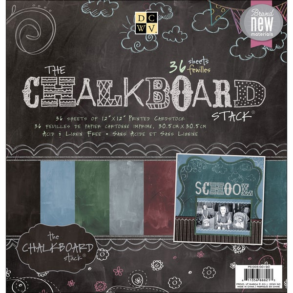 """Chalkboard Paper Stack 12""""X12""""-36 Sheets"""