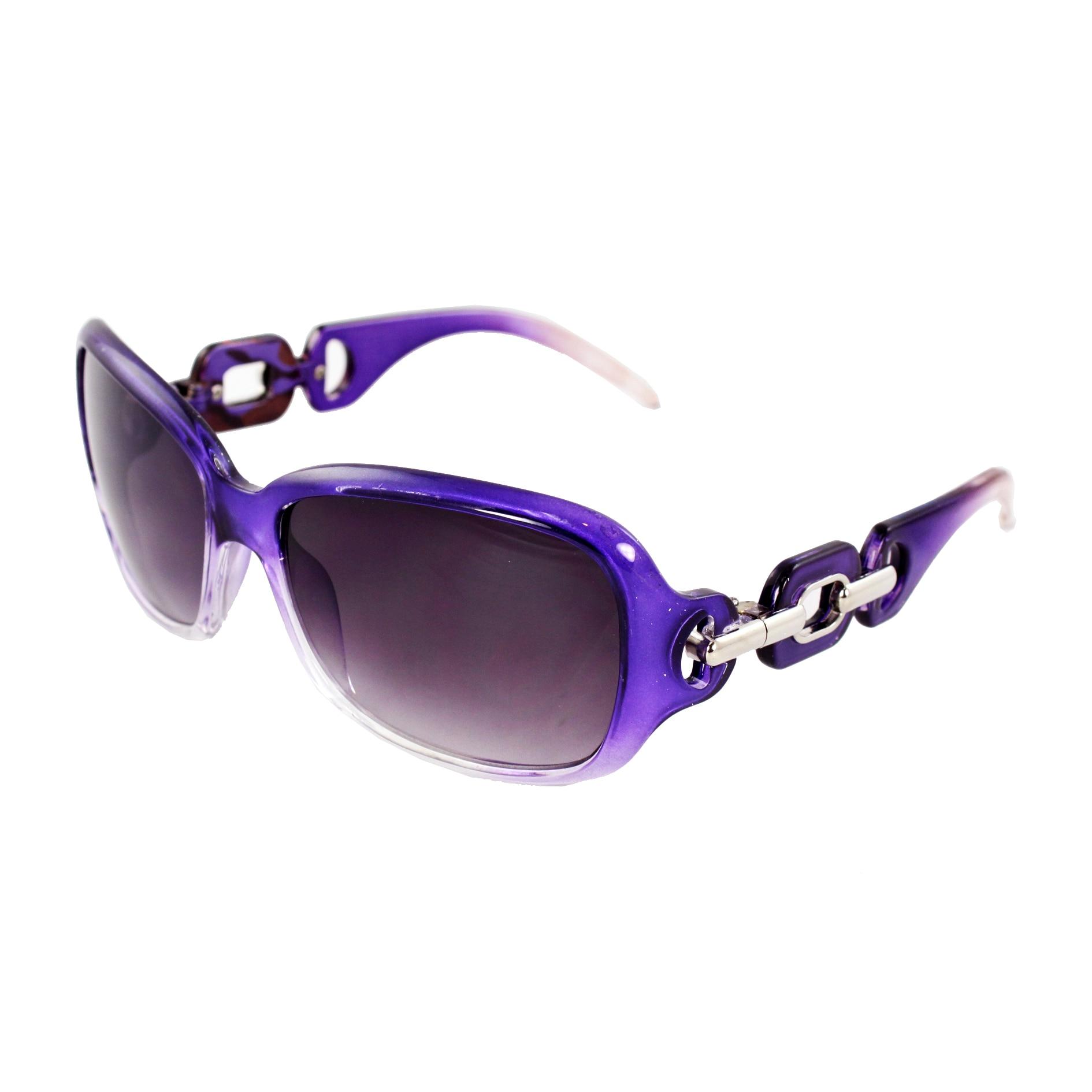 Square Fashion Sunglasses Purple Clear 2tone Frame Purple Black Lenses for Women