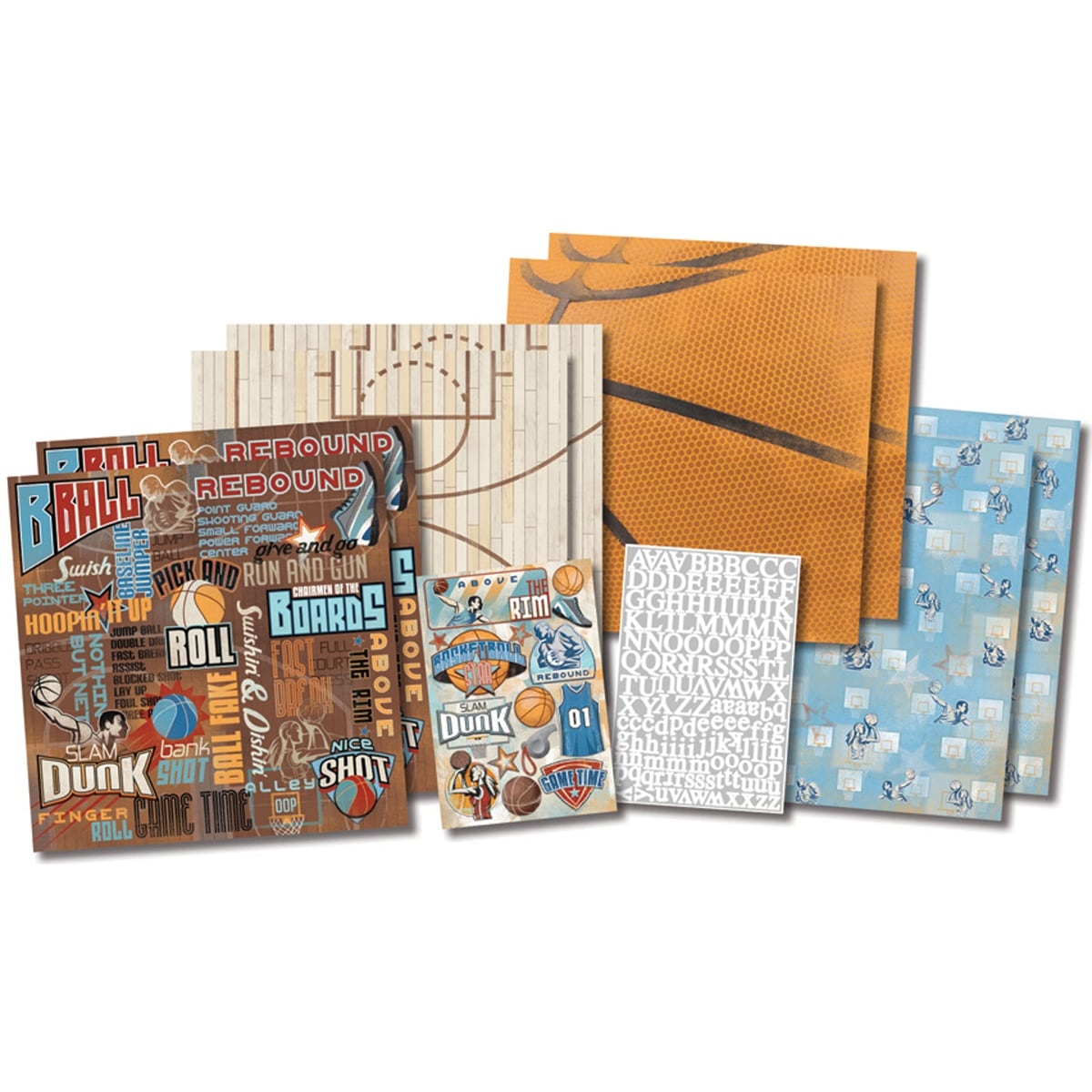 """Karen Foster Basketball Star Page Kit 12""""X12""""-8 Papers, 2 Sticker Sheets"""