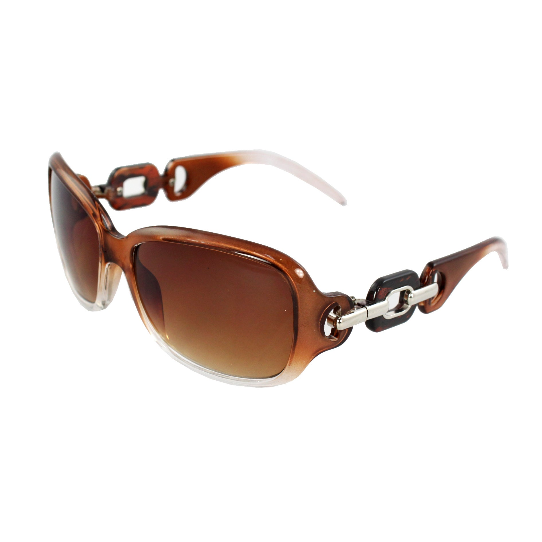 Square Fashion Sunglasses Brown Clear 2tone Frame Amber Lenses for Women