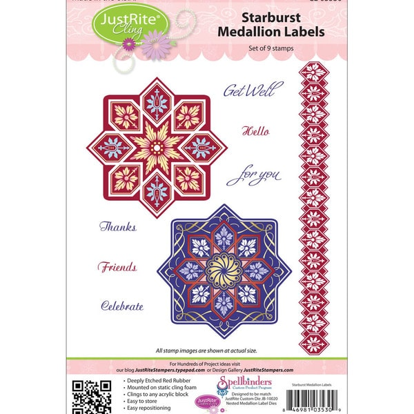 JustRite Stampers Cling Stamp Set-Starburst 9pc