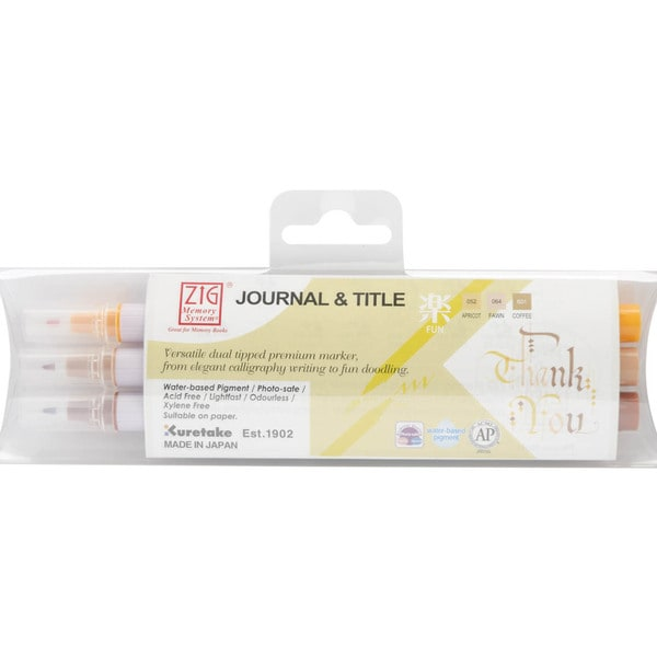 Zig Memory System Journal & Title 3 Color Marker Set-Fun