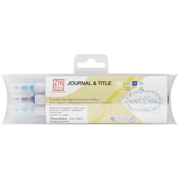 Zig Memory System Journal & Title 3 Color Marker Set-Cool