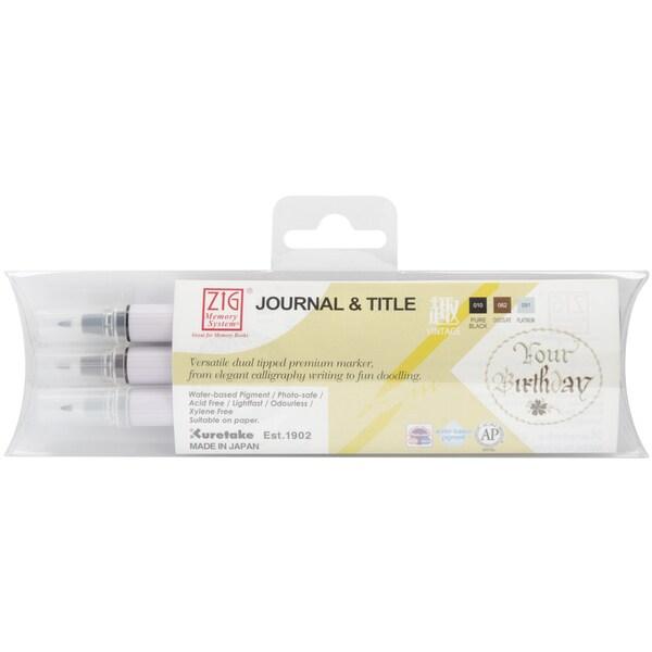 Zig Memory System Journal & Title 3 Color Marker Set-Vintage