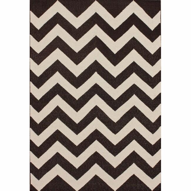 """nuLOOM Handmade Flatweave Chevron Brown Wool Rug (7'6 x 9'6) - 7'6"""" x 9'6"""""""