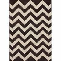 nuLOOM Handmade Flatweave Chevron Brown Wool Rug - 7'6 x 9'6