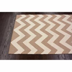 nuLOOM Handmade Flatweave Chevron Natural Wool Rug (7'6 x 9'6) - Thumbnail 1