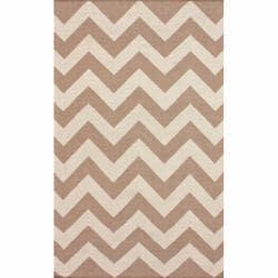 nuLOOM Handmade Flatweave Chevron Natural Wool Rug - 5' x 8' - Thumbnail 0