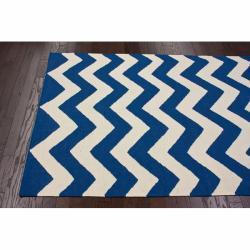 nuLOOM Handmade Flatweave Chevron Blue Wool Rug (7'6 x 9'6) - Thumbnail 1