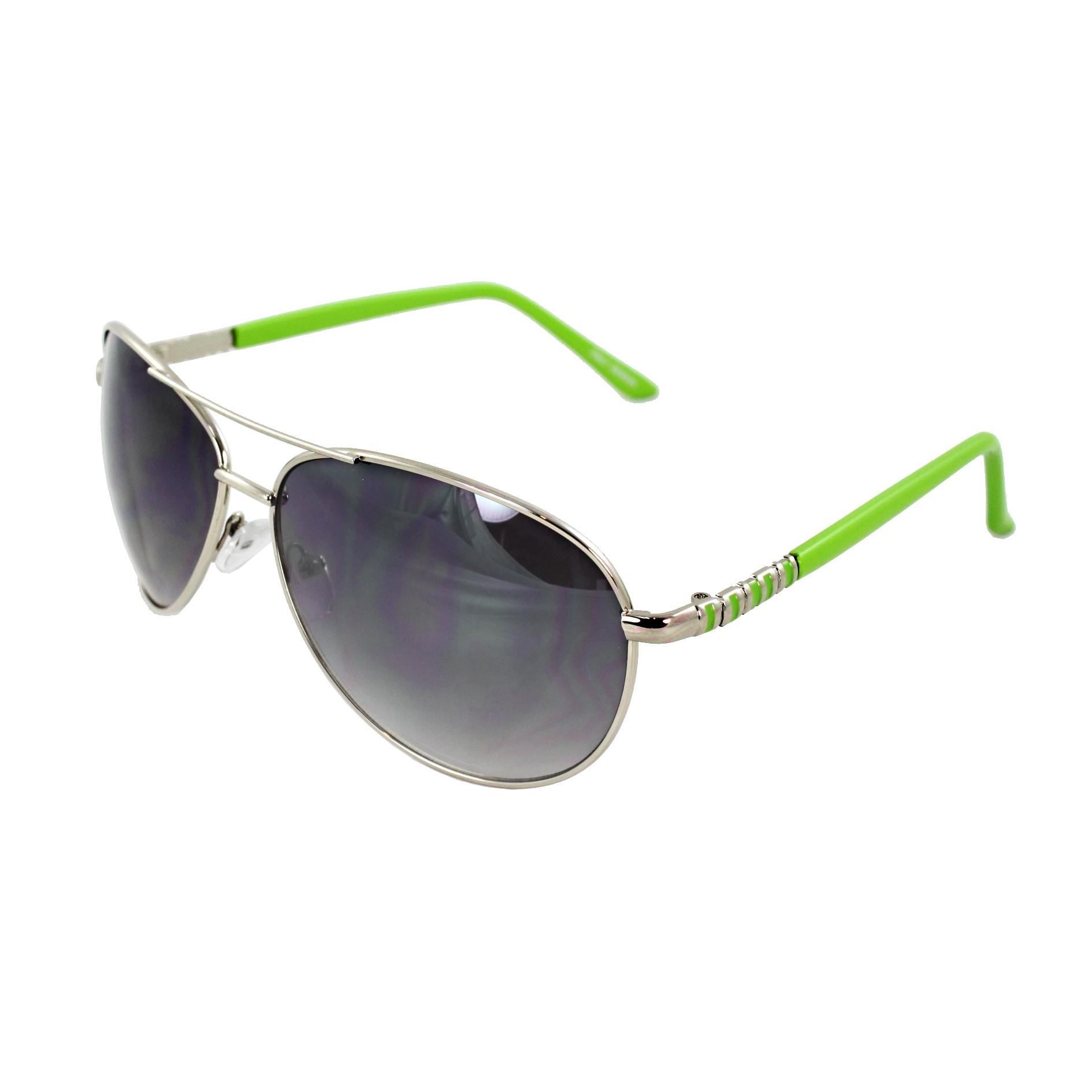Green Frame Fashion Glasses : Pilot Fashion Aviator Sunglasses Silver and Green Frame ...