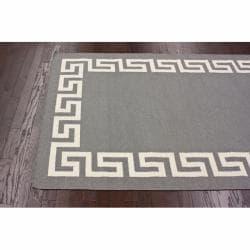 nuLOOM Handmade Flatweave Greek Key Grey Wool Rug (7'6 x 9'6)