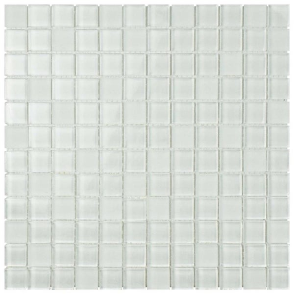 SomerTile 11.625 x 11.625-inch Reflections Square Ice White Glass Mosaic Wall Tile (Pack of 10)