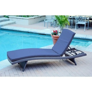 Wicker Adjustable Chaise Lounger with Cushions - Set of 4