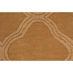 Hand-crafted Gold Lattice Mantra Wool Rug (3'3 x 5'3) - Thumbnail 1