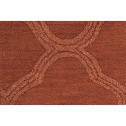 Hand-crafted Orange Lattice Mantra Wool Rug (8' x 11') - Thumbnail 1