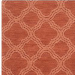 Hand-crafted Orange Lattice Mantra Wool Rug (8' x 11') - Thumbnail 2