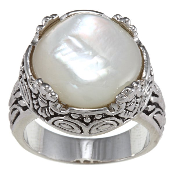 City by City Antique Silver Square White Mother of Pearl Ring