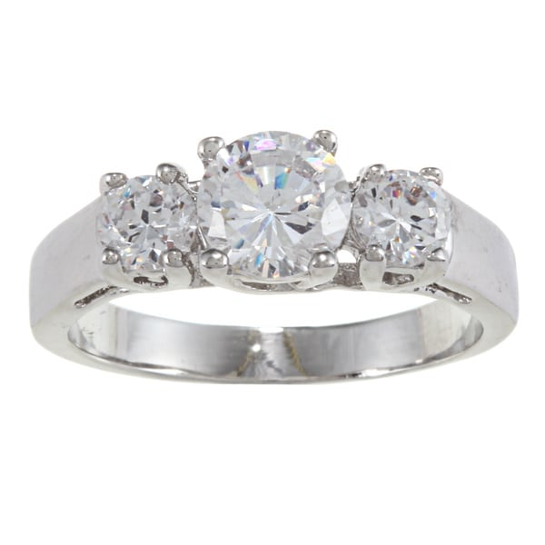 City by City City Style Silver Three-stone Clear Cubic Zirconia Ring