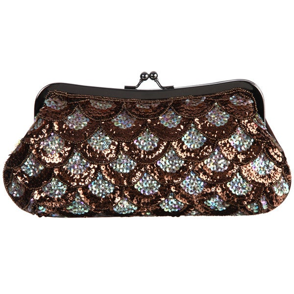 Carlo Fellini 'Sunflower' Coral Sequined Evening Bag
