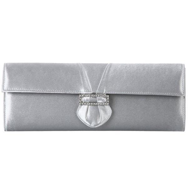 Carlo Fellini 'Carol' Cloud Silver Satin Evening Bag
