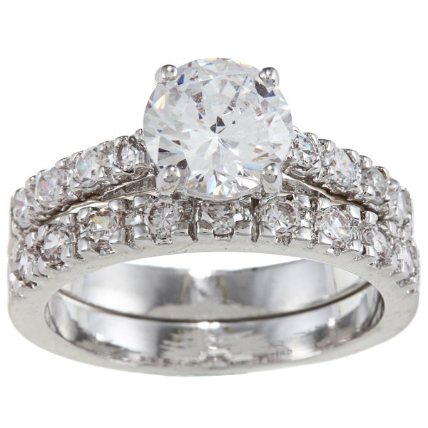 City by City Silver Round Clear CZ Engagement Ring Set (Size 6)