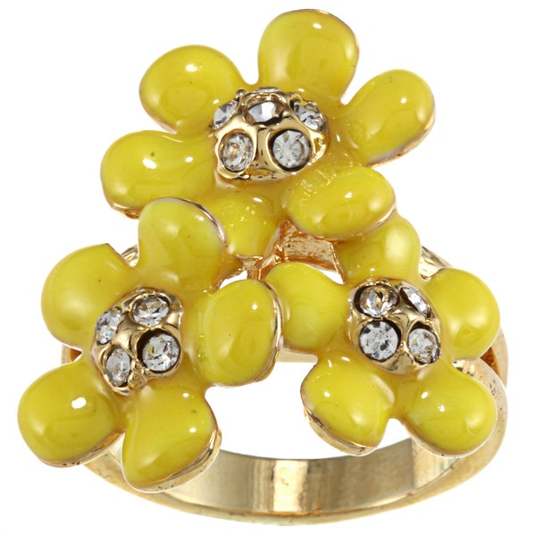 City by City City Style Gold Yellow Enamel and Crystal Flower Ring