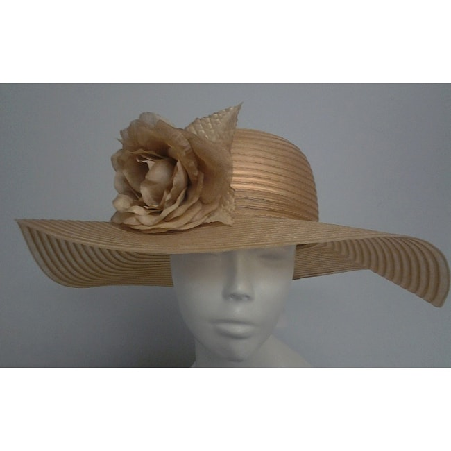 Swan Women's Tan Crinoline Flower-topped Floppy Hat - Thumbnail 0