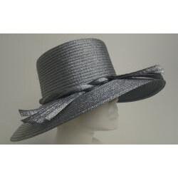 Swan Women's Metallic Navy Ribbon Floppy Hat