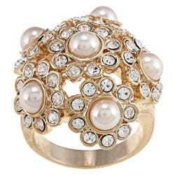 City by City Gold Faux-pearl and Cream Cubic Zirconia Crystal Cluster Ring https://ak1.ostkcdn.com/images/products/6725308/Gold-Faux-pearl-and-Cream-Cubic-Zirconia-Crystal-Cluster-Ring-P14273200.jpg?impolicy=medium