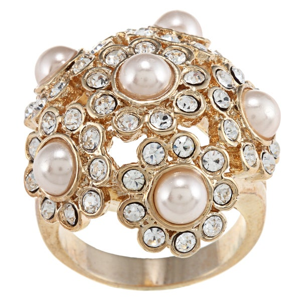 City by City Gold Faux-pearl and Cream Cubic Zirconia Crystal Cluster Ring