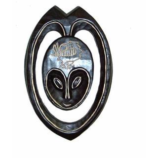 Hand-carved Black/Gray Sesse-wood Lovers Heart Mask  , Handmade in Ghana