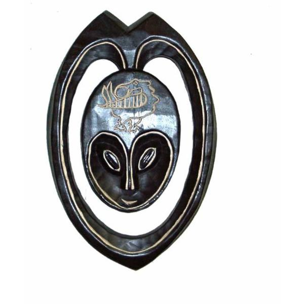 Hand-carved Black/Gray Sesse-wood Lovers Heart Mask  , Handmade in Ghana