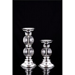 Lakeside Glass Globe/ Aluminum Holders (Set of 2)