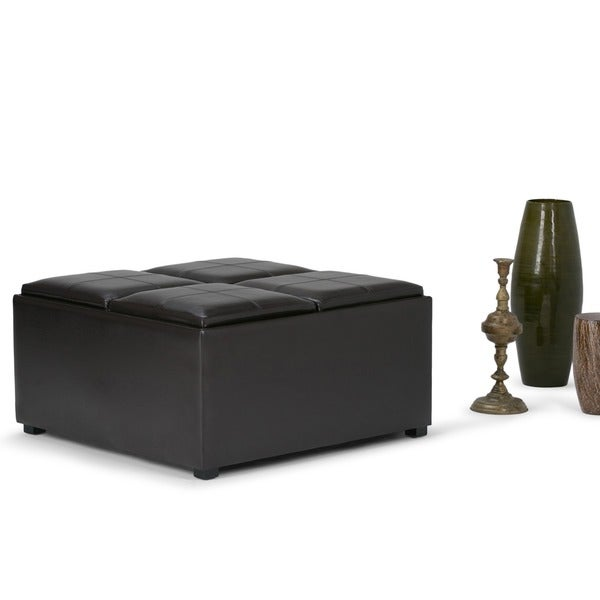 Wyndenhall Franklin Square Coffee Table Storage Ottoman With 4 Serving Trays Free Shipping