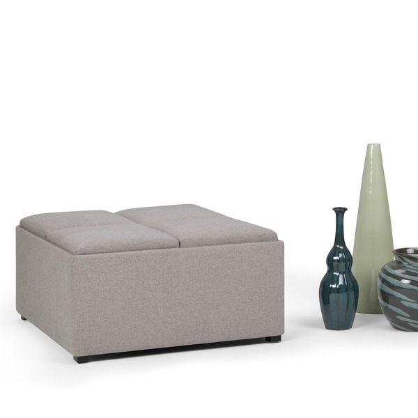 WyndenHall Franklin Square Upholstered Storage Ottoman With 4 Serving Trays