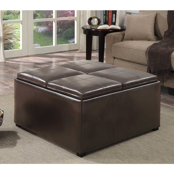 WYNDENHALL Franklin Square Coffee Table Storage Ottoman with 4 Serving Trays