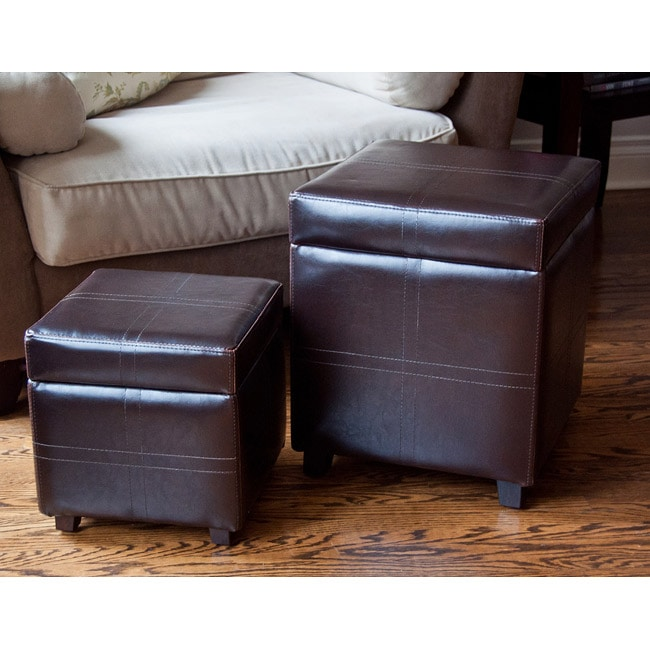 WYNDENHALL Franklin 2 Piece Square Brown Faux Leather Storage Ottoman