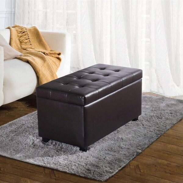 WYNDENHALL Essex Faux Leather Storage Ottoman Bench