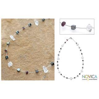 Handmade Stainless Steel 'Celestial' Multi-gemstone Necklace (Thailand)