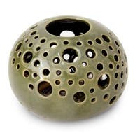 Handmade Ceramic 'Emerald Snowball' Candleholder (Indonesia)