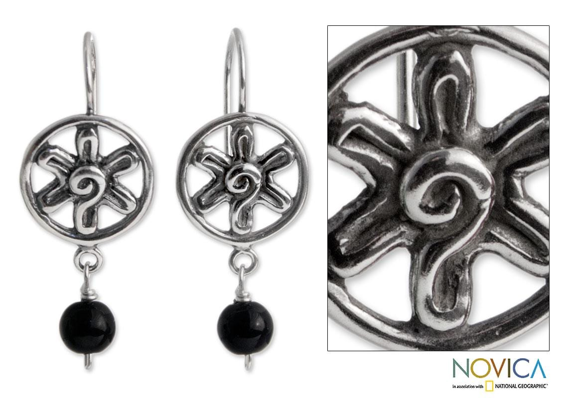 Sterling Silver 'Blossoming Protection' Onyx Flower Earrings (Mexico)