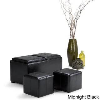WyndenHall Franklin 5-piece Upholstered Storage Ottoman with 2 Serving Trays