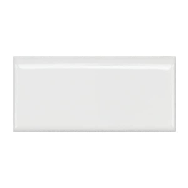 SomerTile 1.75x3.75-inch Victorian Glossy White Porcelain Bullnose Trim Wall Tile (Case of 12)